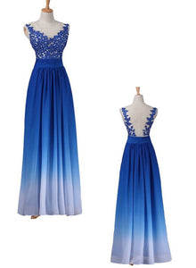 Charming Royal Blue Gradient Long Formal Gown, Junior Party Dresses, Senior Long Prom Dresses