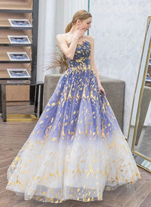 Gradient Blue Floral Long A-line Evening Dress Formal Dress, Floor Length Tulle Party Dress