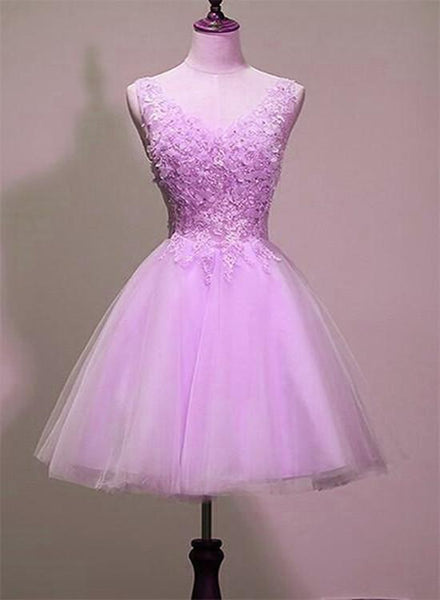 Cute V-neckline Tulle Short Lace Applique Homecoming Dress, Short Party Dress