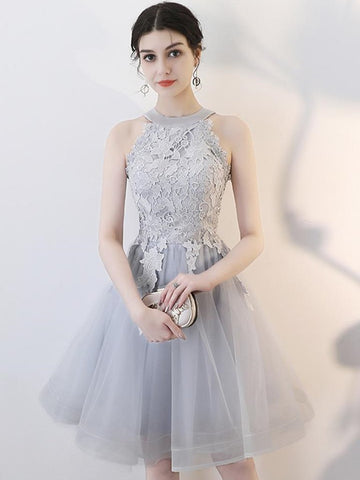 Light Grey Tulle with Lace Top Halter Prom Dress, Grey Short Homecoming Dress