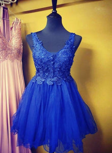 Blue V-neckline Tulle Lace Applique Homecoming Dress, Short Blue Prom Dress Party Dress