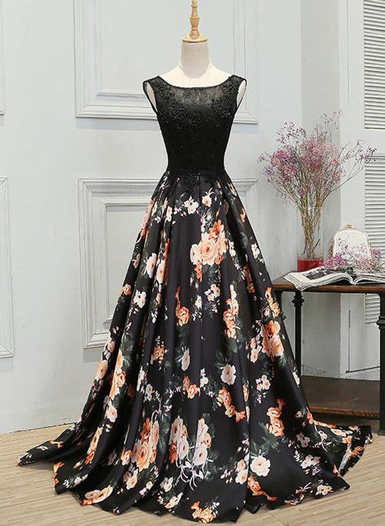Charming Black Floral Satin Long Party Dress, Elegant Formal Gown 2019