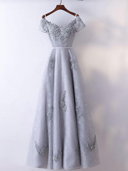 Beautiful Lace Long Off Shoulder Party Gown 2019, Sliver Grey Bridesmaid Dress