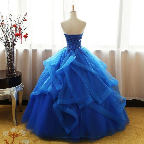 Charming Royal Blue Tulle Prom Gown 2019, Handmade Sweet 16 Party Dress 2019