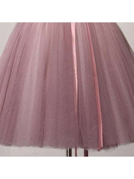 Pink Tulle Off Shoulder Ball Short Homecoming Dresses, Cute Dark Pink Prom Dress 2019