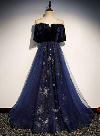 Blue Tulle with Velvet Long Party Dress, A-line Off Shoulder Formal Dress Prom Dress