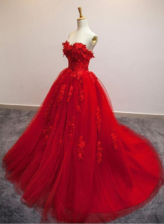 Red Sweetheart Tulle with Applique Party Dress 2019, Tulle Formal Gowns 2019