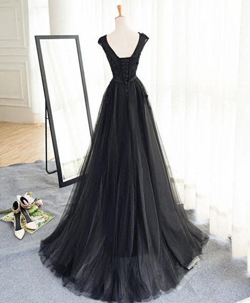 Long Black Tulle Evening Party Dress, Black Party Dress 2019, Evening Dress 2019