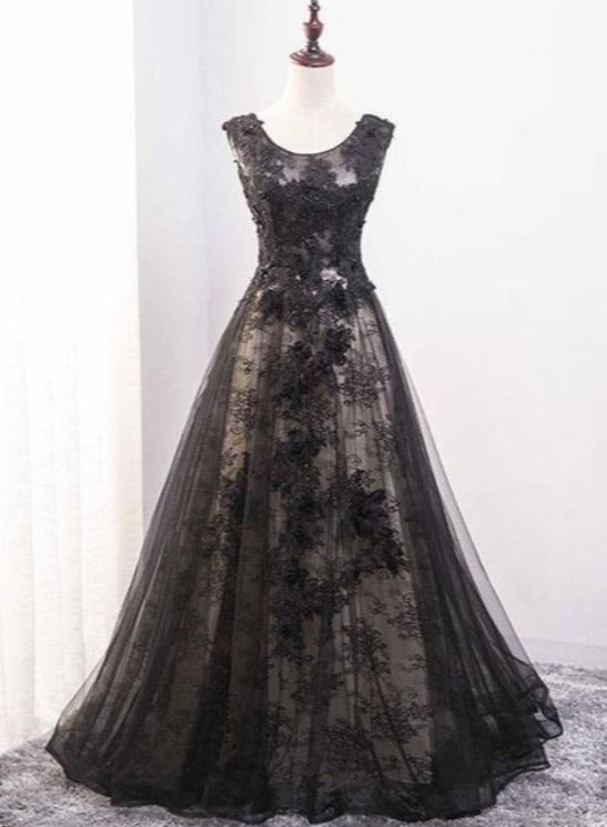 Black Tulle and Lace Round Neckline A-line Party Dress, Wedding Party Dress