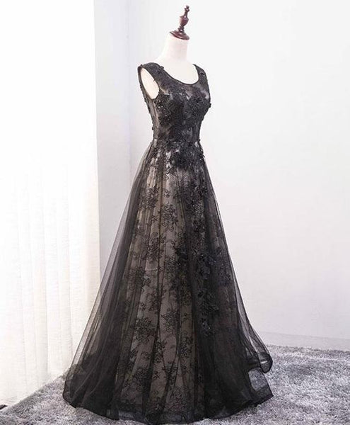 Black Tulle A-line Long Party Dress 2019, Tulle and Lace Formal Dress