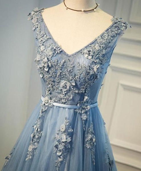 Beautiful Light Blue V-neckline Flower Lace Applique Party Dress, High Quality Long Tulle Evening Dress