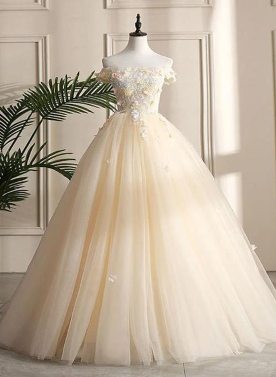 Pretty Tulle Champagne Off Shoulder  Prom Dress, Flowers Lace Formal Dress