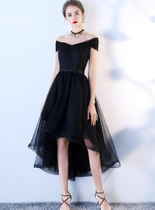 Chic Black Tulle High Low Homecoming Dress Prom Dress, Simple Black Party Dress