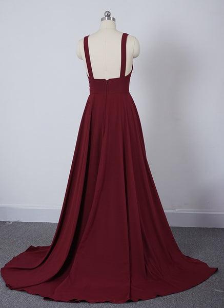 Wine Red Chiffon High Slit Long Party Dress, Charming Long Straps Bridesmaid Dresses