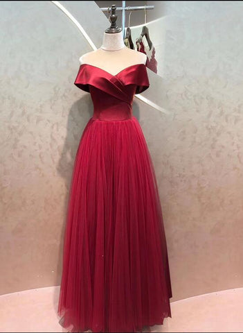 Wine Red Satin with Tulle Skirt Long Formal Dress, Off Shoulder A-line Prom Dress