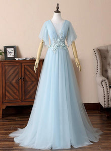 Light Blue V-neckline Long Formal Gown, Blue Prom Dress with Lace Applique