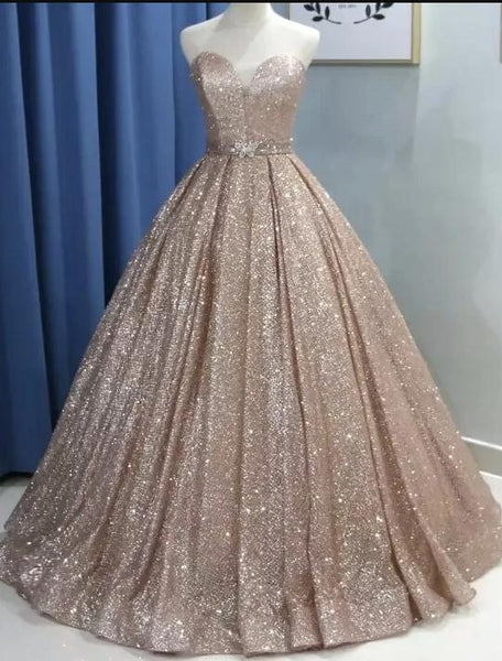 Sparkly Sequins Ball Gown Glitter Sweet 16 Dress, Sweetheart Shiny Formal Dress