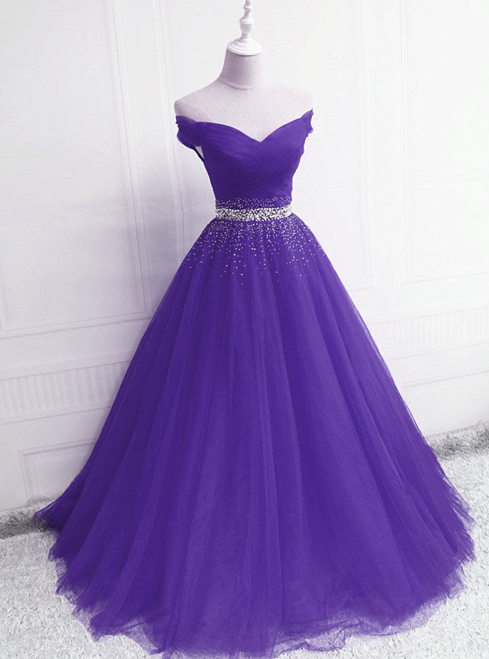 Fashionable Purple Handmade Off Shoulder Long Prom Dress, A-line Evening Dress