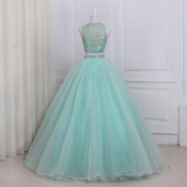 Mint Green Tulle Long Party Dress, Beaded Two Piece Prom Dress