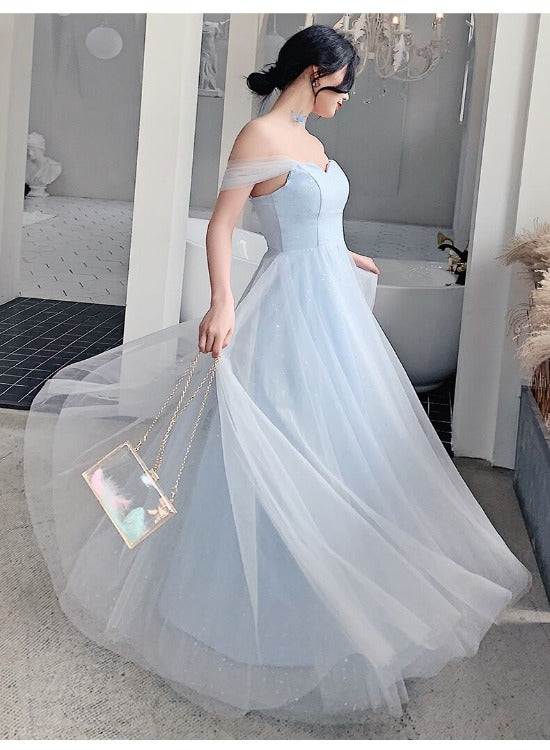 Light Blue Off Shoulder Sweetheart Tulle Long Party Dress, A-line Simple Floor Length Prom Dress