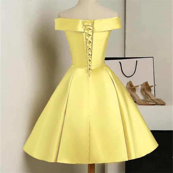 Beautiful Yellow Satin Off Shoulder Homecoming Dress, Short Party Dress
