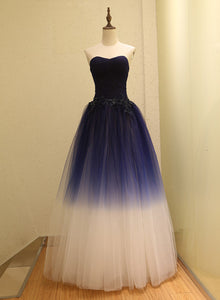 Gorgeous Gradient Tulle Ball Gown Evening Dress, Tulle Party Dress with Applique