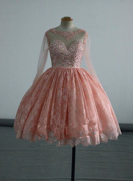 Beautiful Long Sleeves Lace with Beaded Homecoming Dress, Short Party Dress