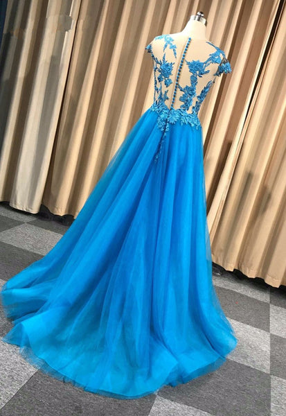 Blue A-line Tulle with Lace Applique High Quality Prom Dress, Blue Party Dress 2021