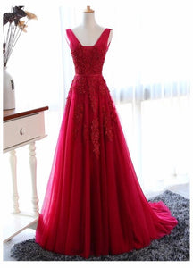 Wine Red V-neckline Tulle Long Party Dress, Dark Red Low Back Tulle Bridesmaid Dress