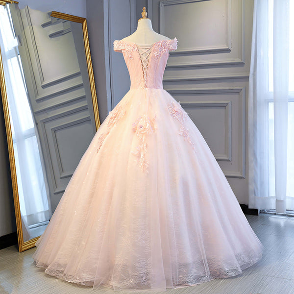Adorable Pink Tulle Off Shoulder Pink Party Dress 2020, Sweetheart Formal Dress