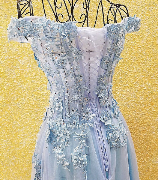 Light Blue Off Shoulder Long Party Dress with Flowers, Tulle Blue Evening Dress Prom Dress
