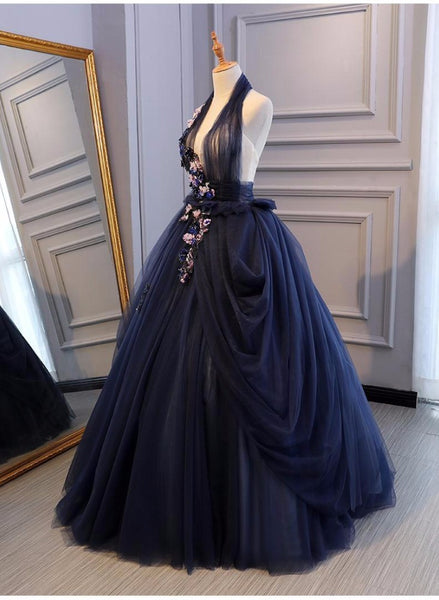 Charming Navy Blue Halter Tulle Party Dress with Flower Applique, Blue Gown