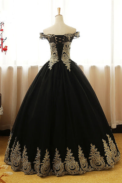 Black Tulle Off Shoulder Gown with Gold Lace Applique, Long Party Dress