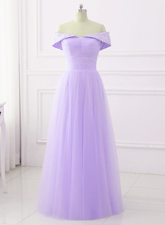 Elegant Tulle Off Shoulder Beaded Sweetheart Prom Dress, Long Party Dress