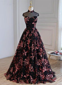 Black Tulle Floral High Neckline Long Party Dress,A-line Floor Length Prom Dress Evening Dress