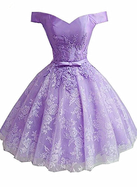 Lavender Lace and Satin Sweetheart Homecoming Dress, Lavender Short Prom Dress