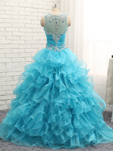Blue Organza Sweetheart Quinceanera Dresses,Long Crystal Ruffles Prom Gowns