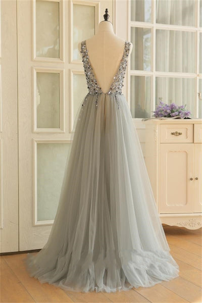 Grey Long Tulle Beaded V Back A-line Prom Dress, Floor Length Grey Formal Dress Evening Dress