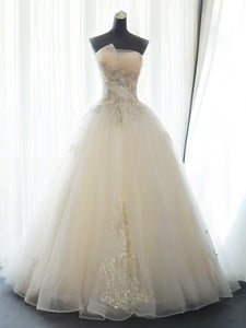 Ivory Tulle Ball Gown with Lace Long Wedding Party Dress, Ivory Floor Length Formal Gown