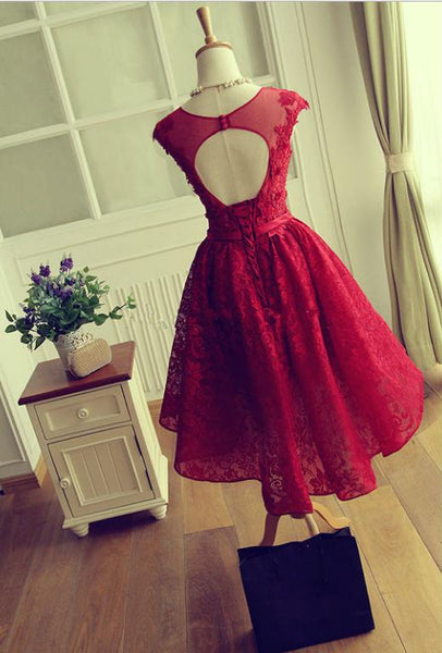 Gorgeous Dark Red Lace Homecoming Dress ,Scoop Short Prom Dress