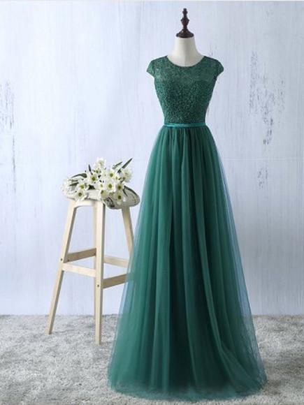 Lace and Tulle Beautiful Bridesmaid Dress, Elegant Formal Dress 2019