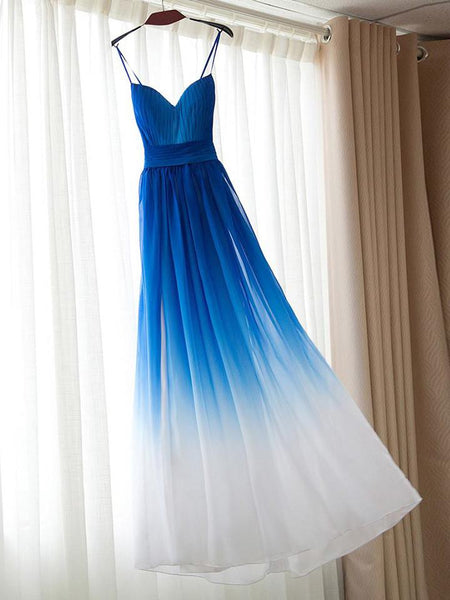 Blue Straps Gradient Chiffon Party Gown, Chiffon Sweetheart Prom Dresses 2019