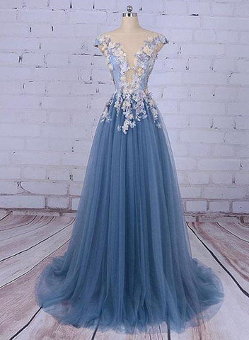 Beautiful Blue Tull with Floral Long Prom Gown with Train, Elegant Party Dress 2019