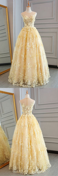 High Quality Lace Yellow Long Party Gown, A-line Evening Dress