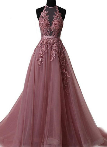 Pink Halter New Style Lace-up Long Formal Gown, Pink Party Dresses 2019