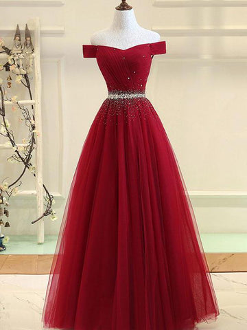 Charming Off Shoulder Tulle Beaded Prom Gown, Wine Red Long Junior Prom Dress