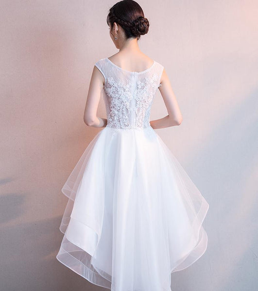 Simple White Tulle and Lace High Low Formal Dress, Round Neckline Graduation Party Dresses