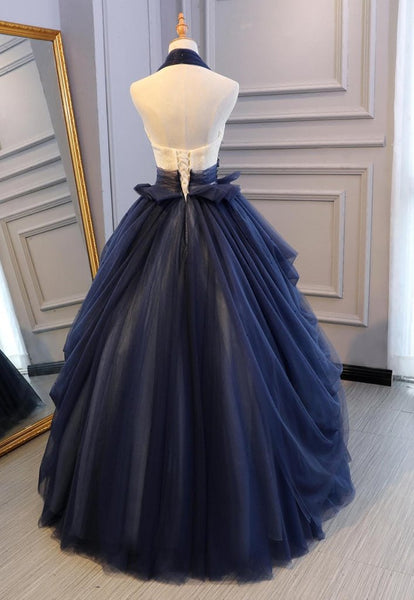 Navy Blue Tulle Halter Sweet 16 Dress, Blue Prom Dress 2020