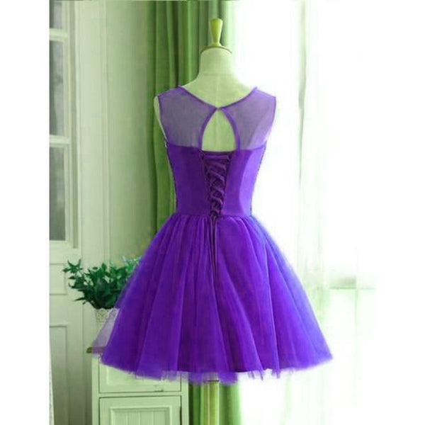 Dark Purple Tulle Beaded Homecoming Dress, New Party Dress 2020