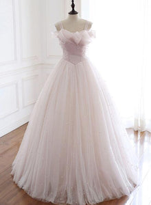 Light Pink Tulle Long Party Dress with Pearls, Floor Length Formal Dress
